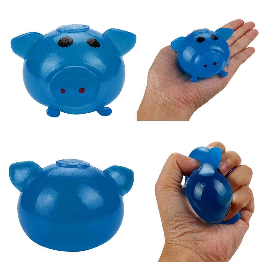 nacomeクリエイティブPig Tricky Toy anti-stress Splat Ball Vent Toy B07778ZTCV ブルー ブルー