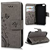Cyber Monday Deals Week-Valentoria Samsung Galaxy S7 Case, Premium Vintage Emboss Butterfly Leather Wallet Pouch Case with Wrist Strap for Samsung S7(Samsung Galaxy S7, Grey)