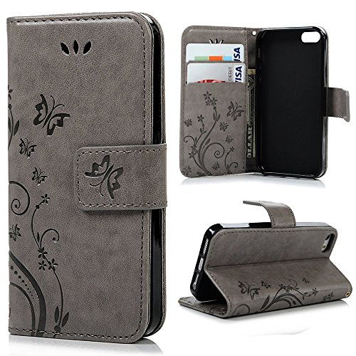 Price comparison product image Valentines Day Gifts-For iPhone SE,iPhone 5S Case, iPhone 5 Case, easygogo Premium Vintage Emboss Flower Leather Wallet Pouch Case with Wrist Strap for iPhone 5 5S(Butterfly iPhone 5/5s Case-Grey)