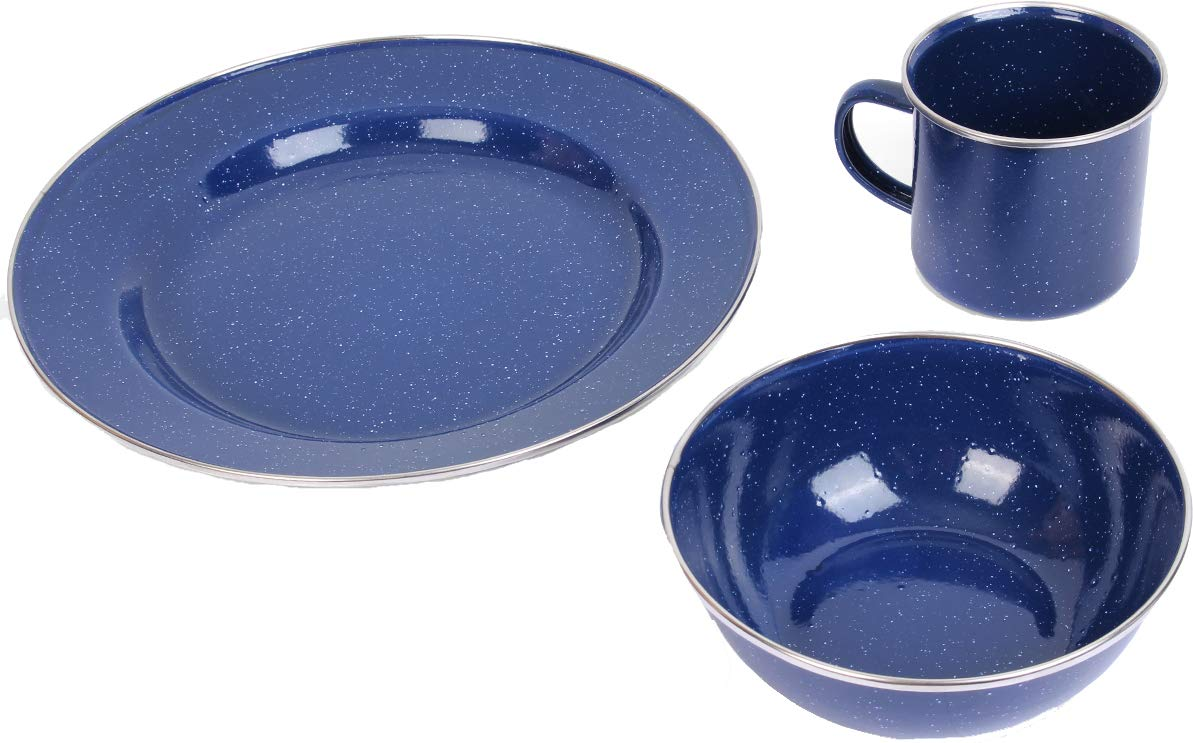A. Blöchl Durable Enamel Camping Dinner Set (Blue, 4 Sets) by A. Blöchl