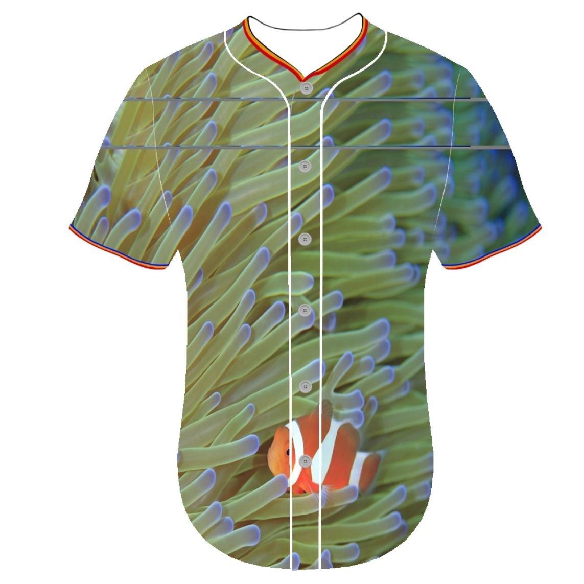 Baseball jersey 3dプリンタustomizationメンズジャージTropical Fish Ewzn 3dプリントタキシードTシャツボタンフロントシャツpcangquji円弧下部 B079DQQWMBXX-Large