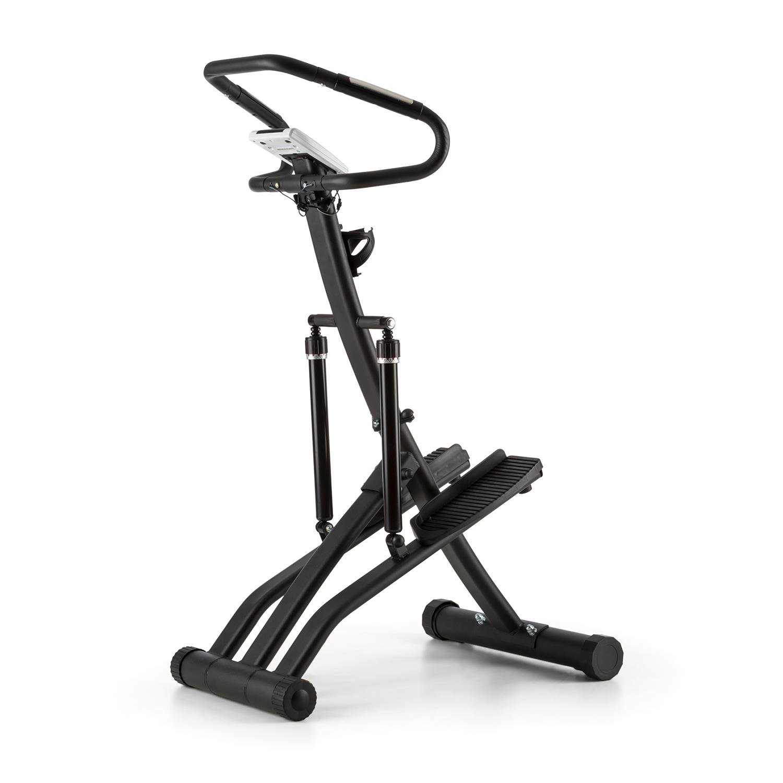 Klarfit Treppo Power Stepper Máquina de Step estática Plegable (Sensor de pulsaciones, Ordenador de Entrenamiento, Ajustable, Entrenar en casa) - Negra: ...