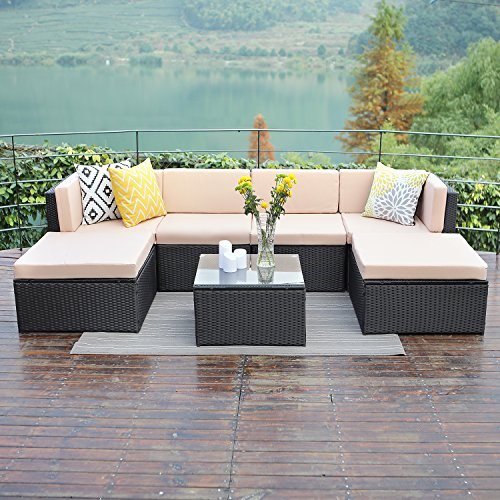 Wisteria Lane Outdoor Patio Furniture Sets,7 PCS Sectional Sofa Couch All Weather Black Wicker Conversation Coushioned Chair Ottoma with Glass Table