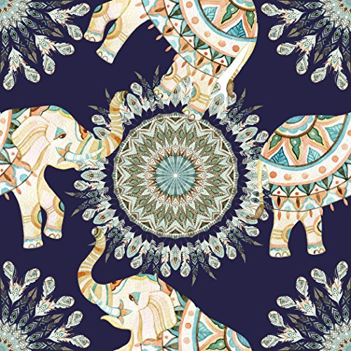 LampPix 10 Inch Table Lamp Shade - Bohemian Elephants Navy Canvas Desk Lampshade (Spider Fitting)