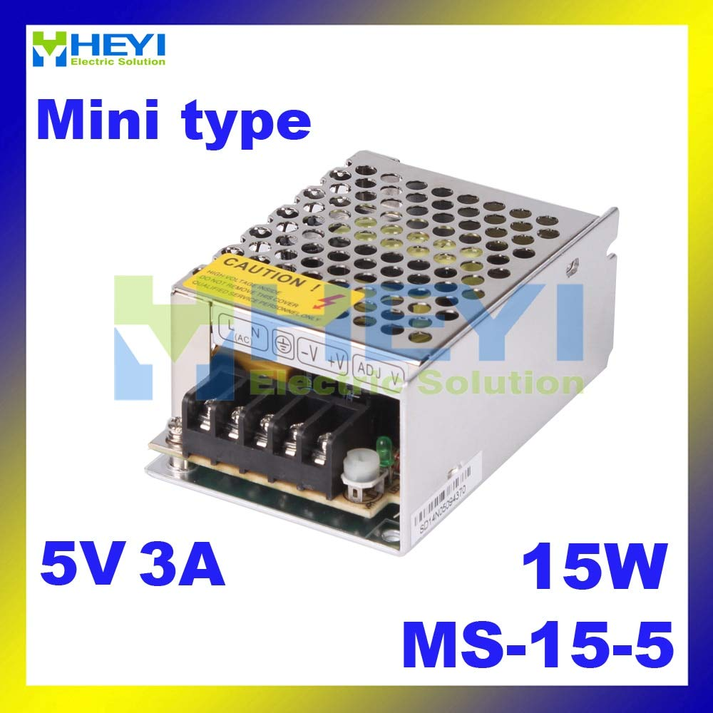 Utini Mini Power Supply MS-15-5 with Single Switching Output 5V 3A Micro Power Supply