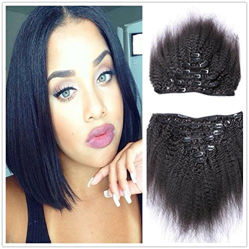 """Search : Moresoo 14"""" 7pcs 100g Clip in Afro Kinky Straight Hair Extensions for Black Women Unprocessed Remy Virgin African American Clip in Human Hair Natural Color"""