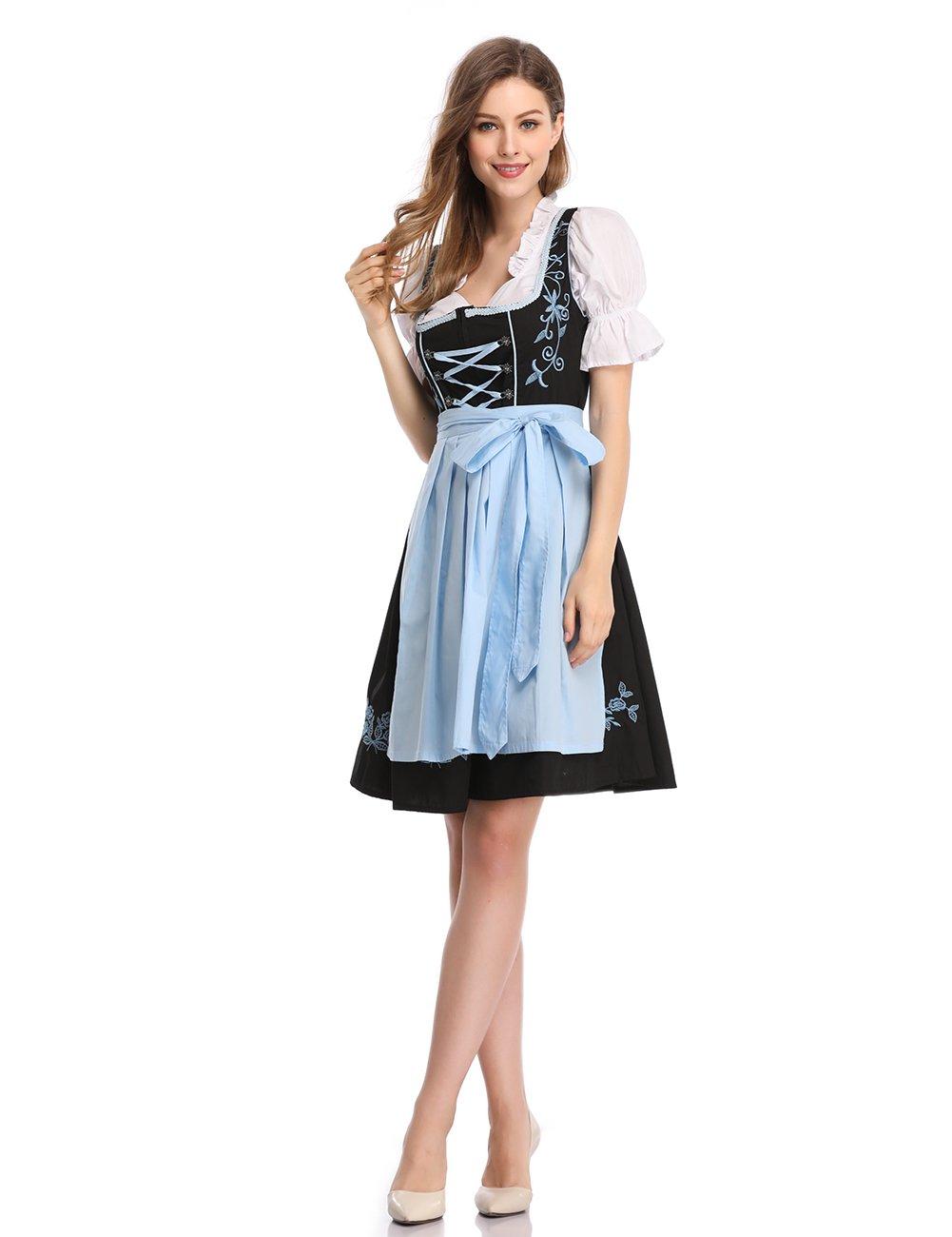 GloryStar Women's German Dirndl Dress 3 Pieces Oktoberfest Costumes (L, Black-Blue-Two)
