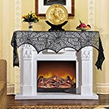 Thanksgiving day Decorations Black Lace Spiderweb Mantle Fireplace Cover Decoration Door Window Festive Supplies Scarf Festive Party Supplies 45 X 243cm 18 x 96 inch(Black)