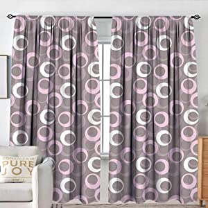 "NUOMANAN Waterproof Window Curtain Geometric,Circular Oval Round Pattern Vintage Traditional Design with Soft Tones,Warm Taupe Pink Cream,Blackout Draperies for Bedroom 100""x96"""