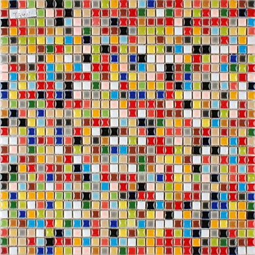Hominter 11-Sheets Multi Colored Ceramic Mosaic Floor Tile, Small Square Glazed Porcelain Tile, Bathroom Tiles Shower Wall Backsplash TA401