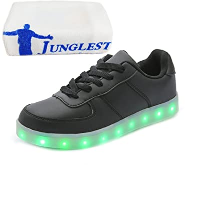 (Present:kleines Handtuch)Weiß EU 40, Schuhe laufende mode Leuchtend Winter Unisex Herren und bunt Freizeitschuhe Paare Damen Sport USB LED JUNGLEST® Erwachsen
