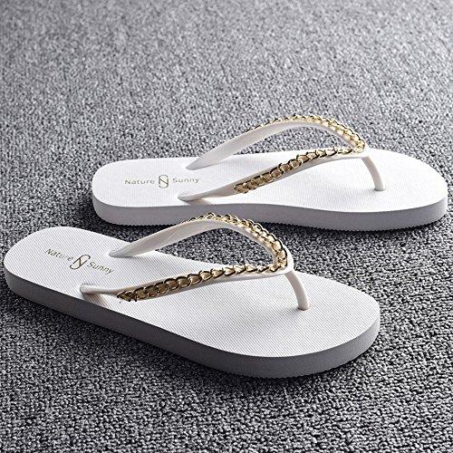 Zapatillas HAIZHEN zapatos de mujer Señoras frescas moda de verano zapatos resbaladizos playa femenino beige, negro, marrón, blanco Para mujeres Blanco