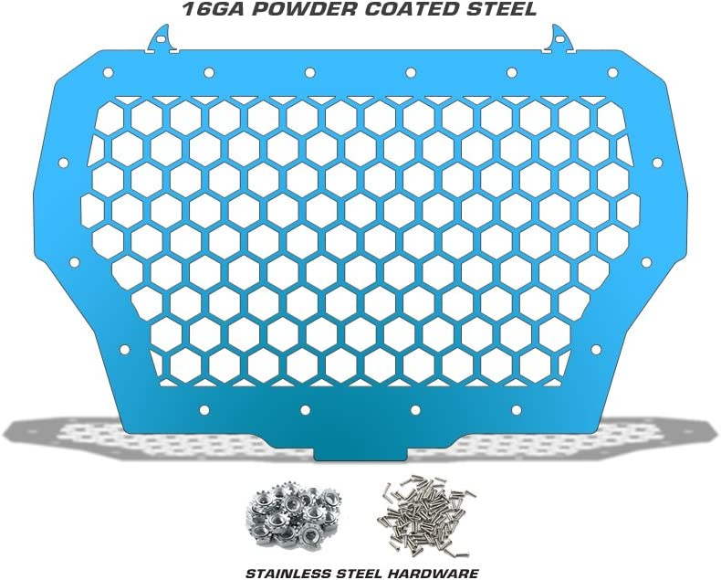 Single Piece Powder Coated Velocity Blue 300 Industries Steel Grille Replacement for Polaris RZR 1000 XP Turbo 2017-2018 Hex
