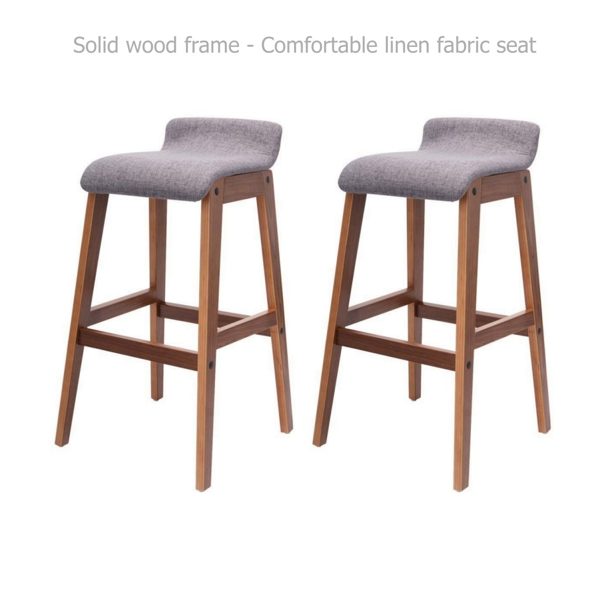 Modern Classic Bentwood Bar Stools Solid Wood Frame Unique Linen Fabrics Seat Counter Height Pub Kitchen Dining Chair - Set of 2 Grey #1528
