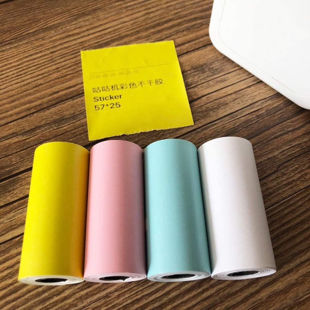 Color Direct Thermal Paper Self-Adhesive 57X30mm for PAPERANG and Mini Wireless Mobile Instant Printer SADA72 4PCS Printable Sticker Roll Yellow,pink,blue,white