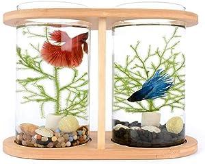 MUMUCW Creative Aquarium Betta Mini Fish Tank Desktop Bowl Round Aquarium Decoration for Home Living Room Bedroom Office Spinning Bamboo Rack