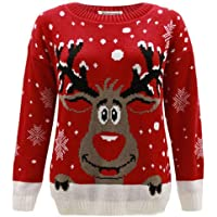 Janisramone Kids Girls Boys New Reindeer Print Long Sleeve Christmas Jumper Childrens Retro Winter Sweater