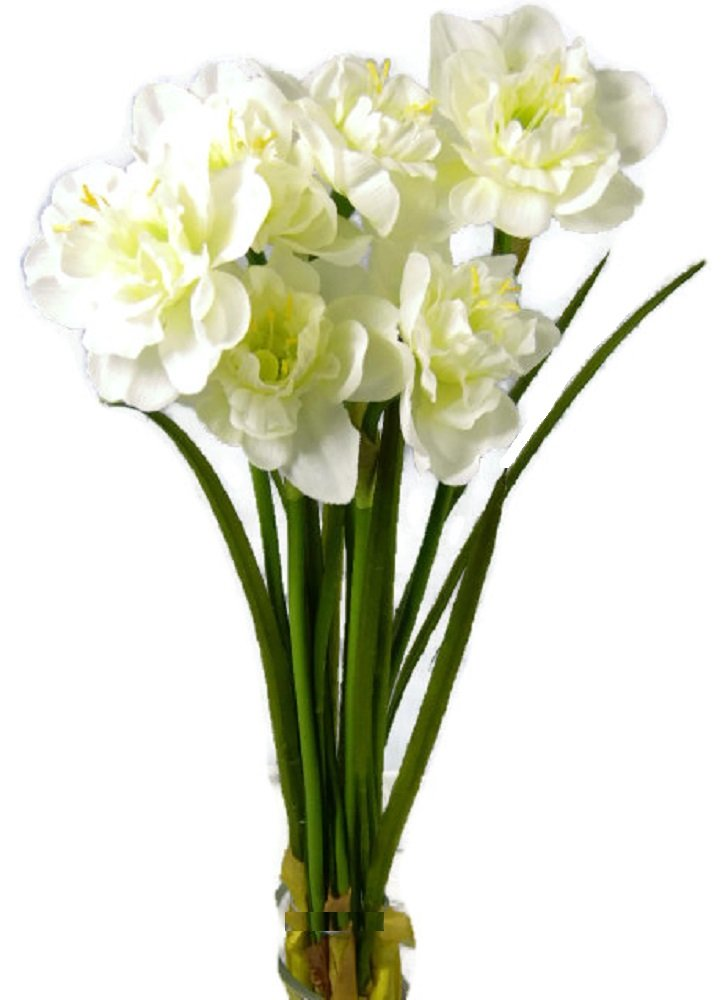 Fiori artificiali Narciso Bianco 6 fiori 31 cm tattili e visive e come vero LIVING ATMOSPHERE
