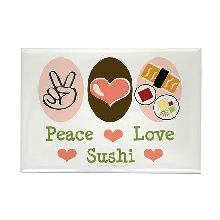CafePress diseño de símbolo de la Paz Love Sushi ...