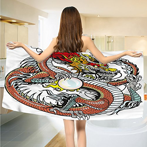 alisoso Dragon Bathroom Towels Traditional Chinese Creature Holding A Large Pearl Zodiac Signs Folk Tattoo Graphic Towels Set Multicolor
