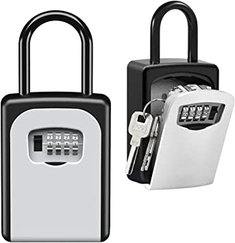 Updated Version Black Key Lock Box Large Capacity Wall Mounted Key Safe Box with Cover Key Storage Box with 4 Digit Combination Lock for Outdoor Home Office Garage School Gym Spare House Keys