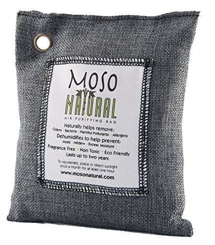 Moso Natural Air Purifying Bag. Odor Eliminator for Cars, Closets, Bathrooms and Pet Areas. Charcoal Color, 200-G (Odor Remover)