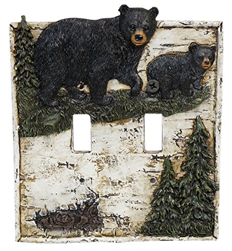 LL Home Bear ON Birch Double Switch Cover Decor