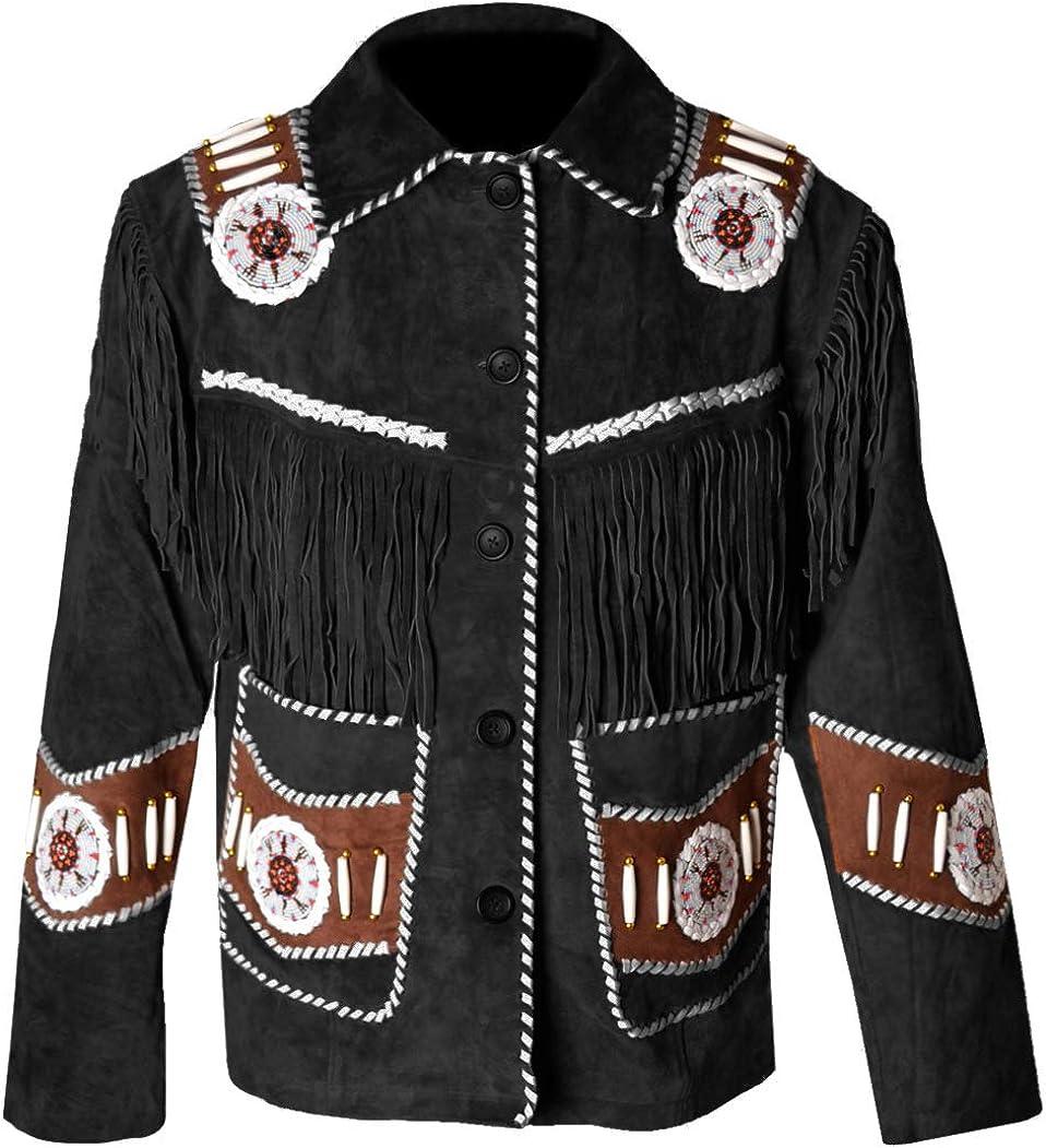 MSHC Western Cowboy Mens Fringed Suede Leather Jacket D14 V3 XXS-5XL Black