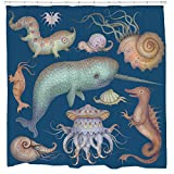 Sea Creatures Shower Curtain - Nautical Narwhal Ocean Bathroom Décor - Fits Bathtub - Mold Mildew Resistant - 72 x 72