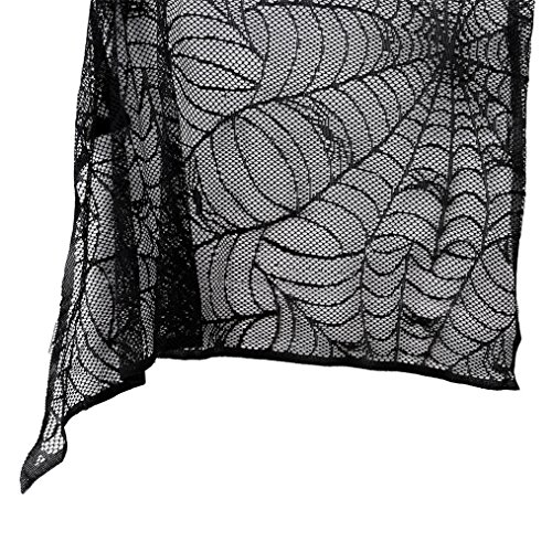 Yesido. Halloween Black Spider Web Lace (Black Lace Halloween Curtains)