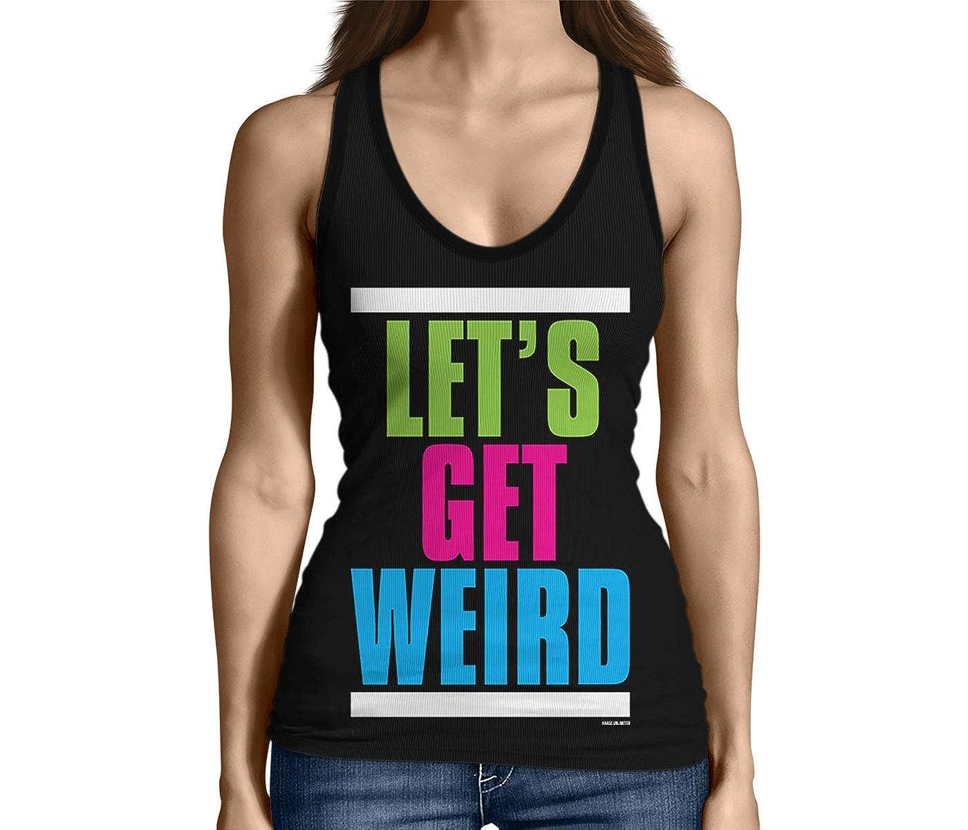 95cbddedb5f68c Amazon.com  HAASE UNLIMITED Junior s Let s Get Weird Tank Top  Clothing