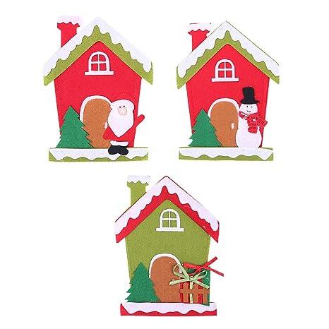 BESTOYARD 3 unids Navidad Titulares de Platería Bolsillos Casa Patrón Paño Navidad Cubiertos Tenedores Calcetines Decoración