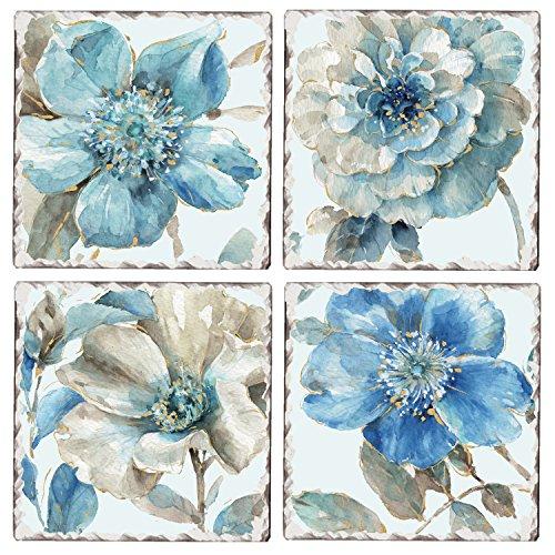 CounterArt Set of 4 Assorted Tumbled Tile Coasters, Indigo Blossoms