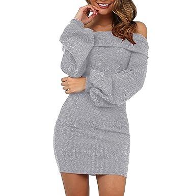 02ff891246b LUBITY Robe Pull Femme Chic Lanterne à Manches Longues Sexy Robe Licou Une  épaule Mini-