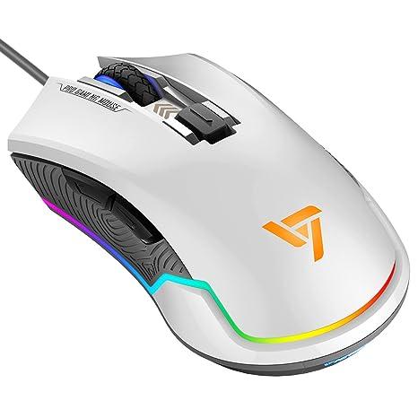 VicTsing RGB programables Gaming Ratón con cable juegos ratón 7250 DPI Sensor óptico profesional de 6 ...