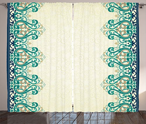 Ambesonne Damask Curtains, Ornamental Lace Like Border Victorian Style Pattern Design Illustration, Living Room Bedroom Window Drapes 2 Panel Set, 108W X 90L Inches, Light Yellow Jade (Victorian Design Window Panel)