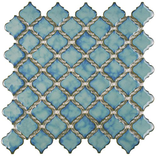 SomerTile FKOLTR33 Tinge Marine Porcelain Floor and Wall Tile, 12.375'' x 12.5'', Blue by SOMERTILE