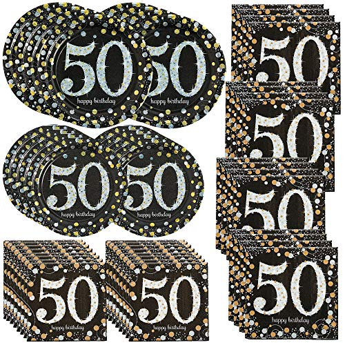 William & Douglas Sparkling Celebration 50th Birthday Party Bundle | Party Supplies include Luncheon & Beverage Napkins, Dinner & Dessert Plates -