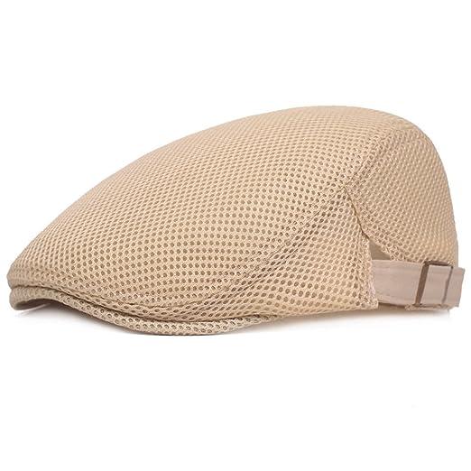 b1458a494a64d XRDSS Men Breathable Mesh Summer Flat Cap Newsboy Ivy Hunting Hat (Beige)