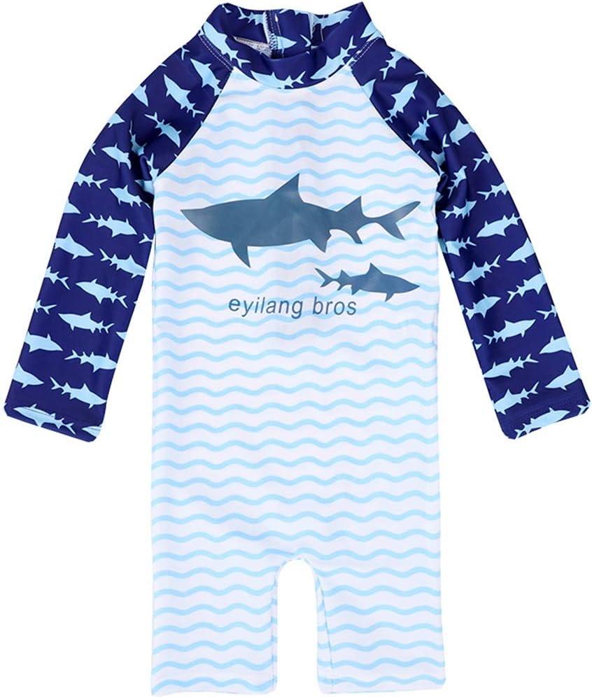 Duevin Boys One Piece Swimsuit 8-Blue Kids Shark Long Sleeve Swimwear Rash Guard Sun Protective
