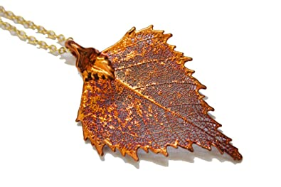 Real leaf necklace - Birch leaf in iridescent copper. AqOaA7Pis