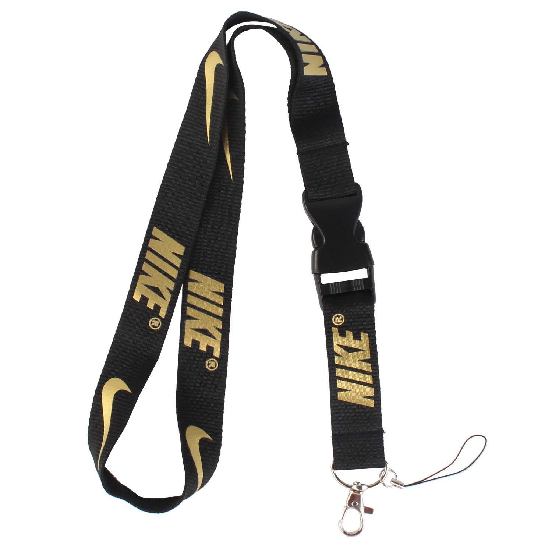 3ebbef708e072 InterUS Lanyard Keychain Holder Keychain Key Chain Black Lanyard Clip with  Webbing Strap (Nike Golden Letter)