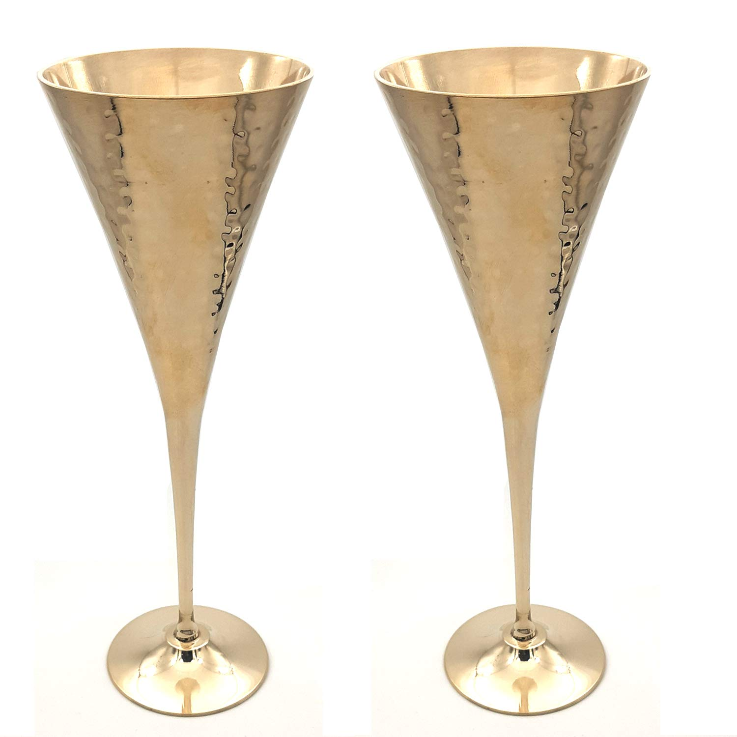 200 ml Brass Hammered Goblet Royal Chalice Champagne Flutes Coupes Wine Glass Set of 2