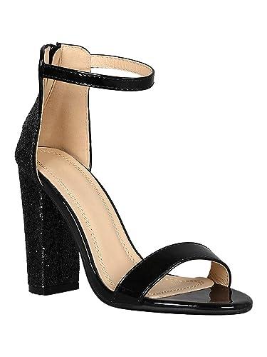 9dbc2f9994ec Alrisco Women Open Toe Glitter Encrusted Chunky Heel Sandal RB72 - Black  Mix Media (Size