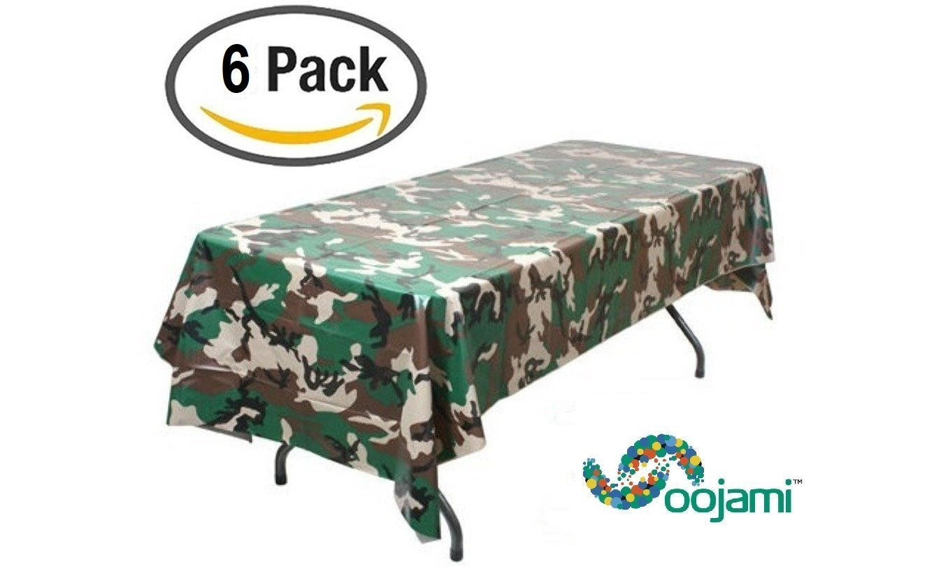 Pack of 6 Camouflage Plastic Tablecover Camo Tablecloth - 54'' x 108''