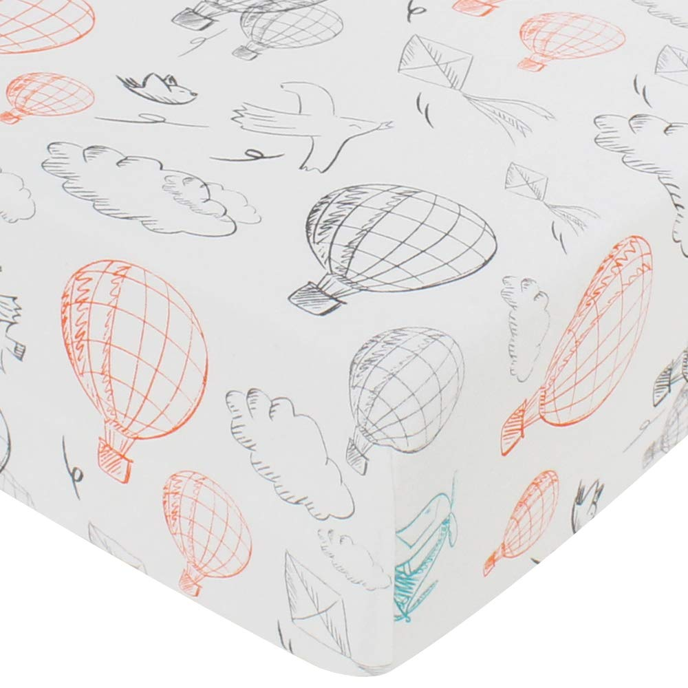 LifeTree Fitted Crib Sheets - Balloon Print Premium Cotton Toddler Bed Sheets for Baby Girls or Baby Boys - Fits Standard Crib Mattress