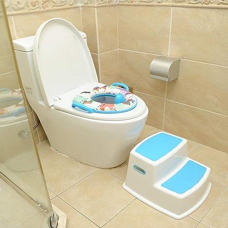 Taburete para niños 2 Pasos Banco para bebé Lavabo Inodoro Inodoro Antideslizante Pie Taburete Escalera de plástico Escalera para niños Ideal para niños y niñas Baño KADJ (Color : Blue): Amazon.es: Hogar