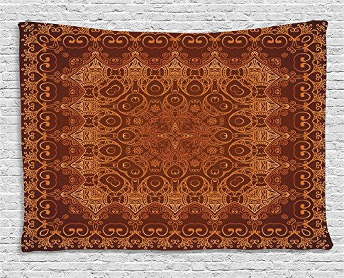 - Ambesonne Antique Decor Collection, Vintage Lacy Persian Arabic Pattern from Ottoman Empire Palace Carpet Style Artprint, Bedroom Living Room Dorm Wall Hanging Tapestry, 60 X 40 inches, Orange Brown