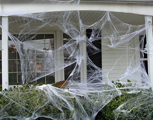1000 sqft Fake Spider Web Halloween Party Outdoor Decorations Supplies]()