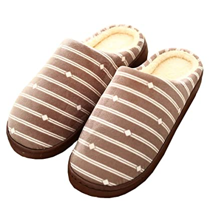 0e418527396 Indoor Cotton Slippers Striped Women Men Soft Cozy Bottom Home Warm  Anti-Slip Winter Shoes